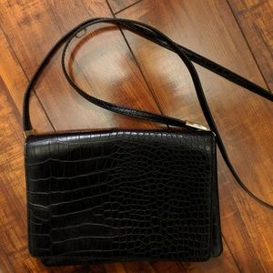 Black Crocodile Print Purse